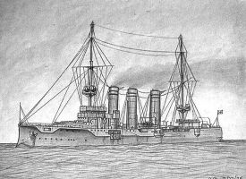 My Earliest Recorded Drawing (warship) by AlanGutierrezArt