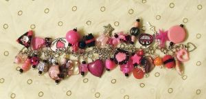 Pink Overstuffed Charm Bracelet by mintdawn