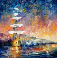 Sailboats In Sunrise by Leonid Afremov by Leonidafremov
