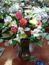 Dark Pink Roses, White Alstro and Green mums by NikkiAgent