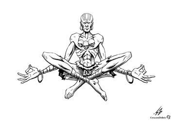 STREET FIGHTER II: Dhalsim (LINES) by CrescentDebris