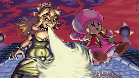 Queen Koopa (Bowsette vs Toadette) by Nighteba