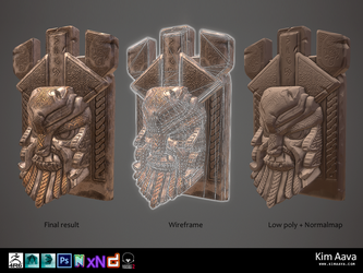 Nordic Environmet - Viking head stone by Mad-Owl