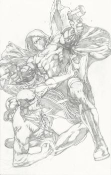 Moon Knight vs Iron Fist pencils by Ace-Continuado