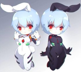Ayanami Rei (original) + Ayanami Rei (temporary) by illust-ringo
