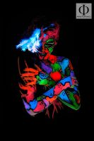 Blacklight Patchwork Body Painting by Wernest