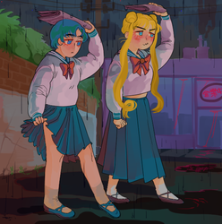 ami and tsukino walking home late by godlyDescentUFO