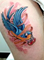 colour swallow tattoo by Greg0s