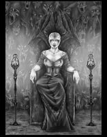 The Bloody Throne Black and White by GreenGosselin