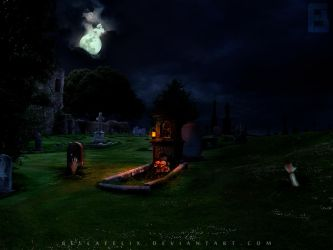 Zombies and Graveyard by bellafelix