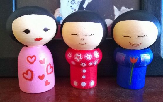Kokeshi Friendship Dolls by kael1030