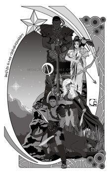 Star Hill Brotherhood [black and white lineart] by crcarlosrodriguez