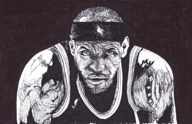 LeBron James Ink Drawing, Portrait by LorraineKelly