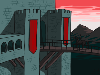 Red Banner Castle by Blondbraid