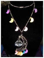 Rainbow Crescent Moon Necklace by kuroitenshi13