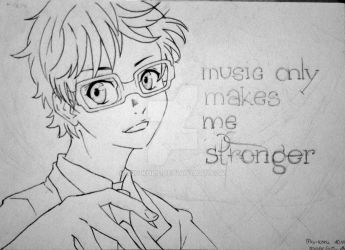 Your lie in april - Kousei - outlines by Miu-koru