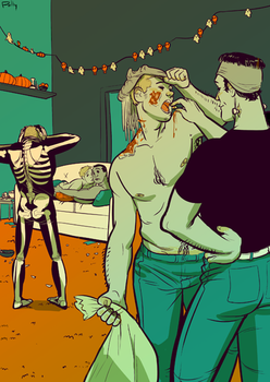 commission -dudetube halloween by PollyGuo