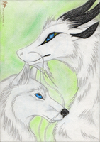 White-wolf-dragon by Wol4ica