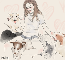 [commission] girl with a lot of doggos!! by Toraimu