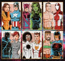1980s Avengers Sketch Cards by calslayton