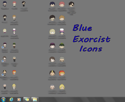 Ao No Exorcist Desktop Icons by queen-of-rainbows