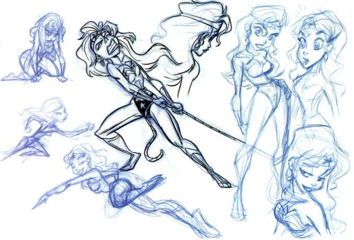 Older WonderWoman sketches pt1 by tombancroft