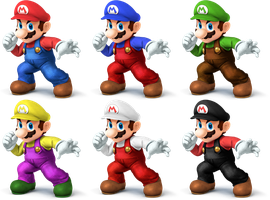 Mario SSB4 Recolors by shadowgarion