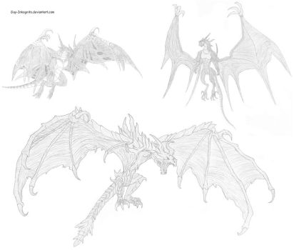 Alduin vs Bahamut FF8 vs Bahamut FF9 by Guy-Inkognito