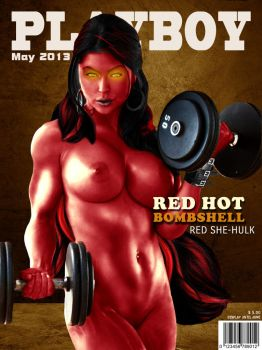 Playboy Cover - Red She-Hulk by LograySon