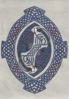 two birds in oval knotwork by spookyt5