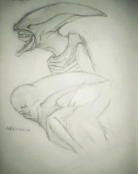 Deacon and Neomorph Sketch by justinedavis426
