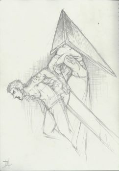 Alex Shepard and Pyramid Head by dawnpyro43