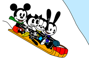 Oswald, Felix, Bendy and Mickey riding on Toboggan by MarcosPower1996