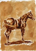 Coffee Painting #1: Thoroughbred by Hei-La
