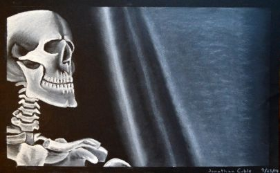 Skeleton Still Life - Compressed Charcoal by JCobes