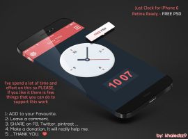 Just Clock for iPhone 6 Retina Ready - FREE PS by khaledzz9