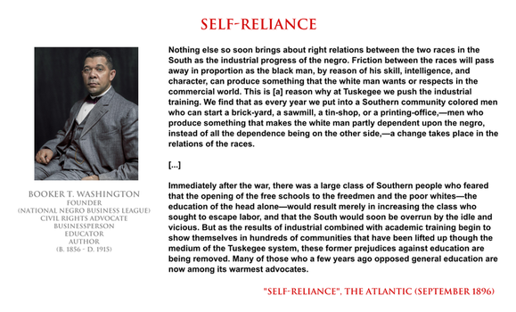 Booker T Washington - self-reliance by YamaLama1986