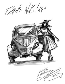 Doodle - Rabbit and Car by BunnyBennett