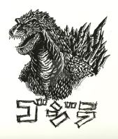 Godzilla 2000 Ink Drawing by Virus-91