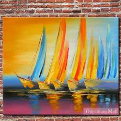 Sailing Boats Hand Painted Oil Painting On Canvas by oilpaintingma