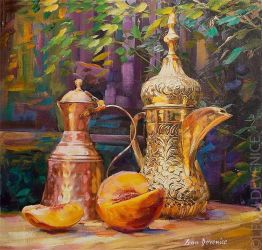 Copper and Gold  Oil painting by Leon Devenice by leondevenice