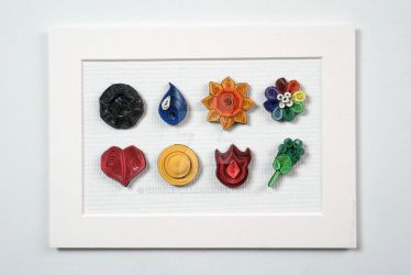 Pokemon Paper Quilling Art Kanto Gym Badges by wholedwarf