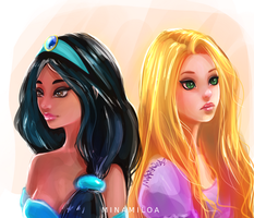 Jasmine and Rapunzel by Minamiloa