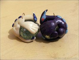 Lugia and Shadow Lugia Marble keychains by PrussianBlackEagle