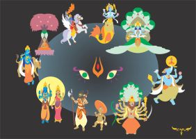 The Ten Avatars of Vishnu by elchavoman