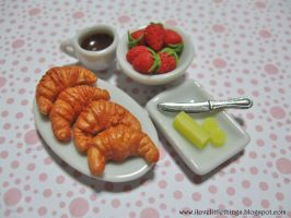 Dollhouse Miniature Croissants and Strawberries by ilovelittlethings