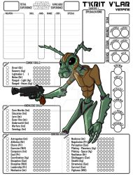 Custom Character Sheet Commission - T'krit V'lar by BasiliskOnline