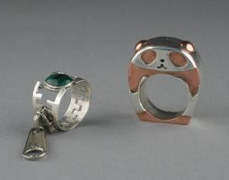 Panda and zipper rings by keikoface