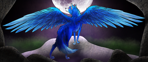 Lightning - Winged Wolf - The Injured Princess by GoldenDragon5882