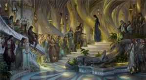 Beren and Luthien in the Court of Thingol + Melian by DonatoArts